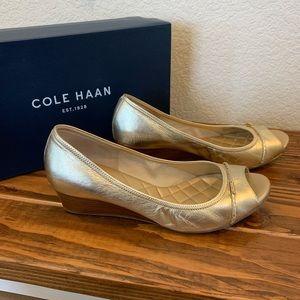 9 Cole Haan Tali Gold Peep Toe Wedge